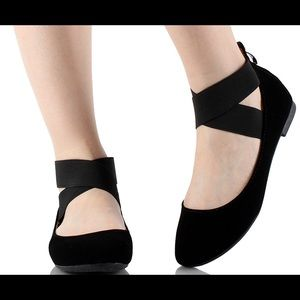 Black criss-cross ballet flats
